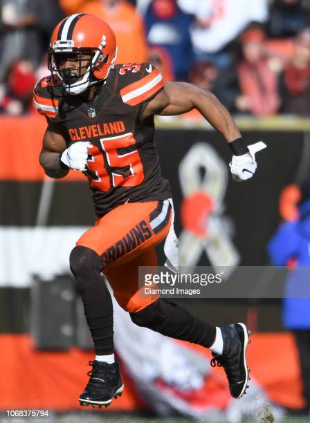Defensive back Jermaine Whitehead of the Cleveland Browns runs downfield on a kickoff in the first quarter of a game against the Atlanta Falcons on...
