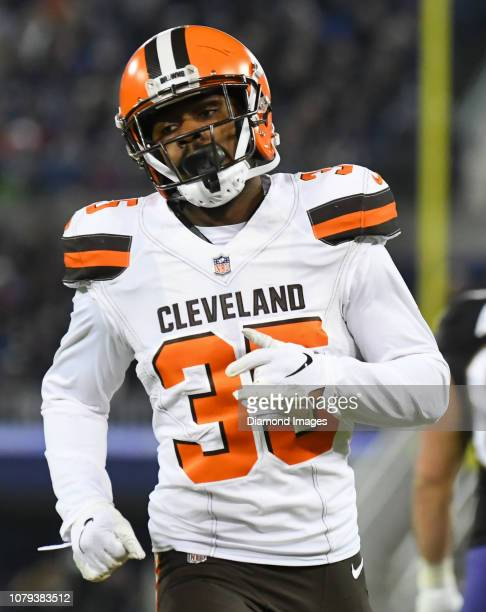 Defensive back Jermaine Whitehead of the Cleveland Browns runs downfield on a kickoff in the third quarter of a game against the Baltimore Ravens on...