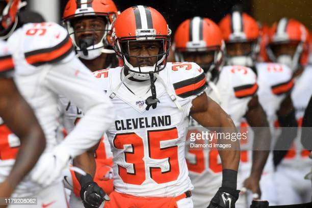 Defensive back Jermaine Whitehead of the Cleveland Browns runs out of the tunnel prior to a game against the New England Patriots on October 27 2019...