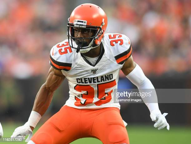Defensive back Jermaine Whitehead of the Cleveland Browns rushes the line of scrimmage in the first quarter of a preseason game against the...