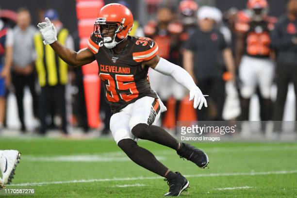Defensive back Jermaine Whitehead of the Cleveland Browns rushes the line of scrimmage in the first quarter of a preseason game against the Detroit...