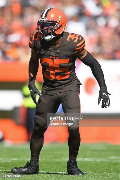 Defensive back Jermaine Whitehead of the Cleveland Browns waits for the snap in the first quarter of a game against the Seattle Seahawks on October...