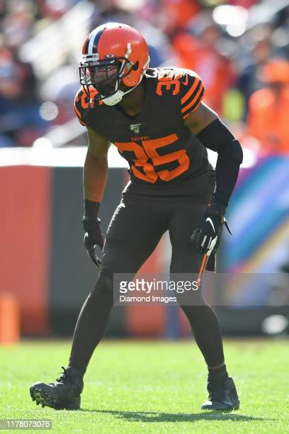 Defensive back Jermaine Whitehead of the Cleveland Browns waits for the snap in the second quarter of a game against the Seattle Seahawks on October...
