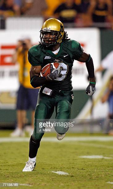 Defensive back Jerome Murphy of the South Florida Bulls returns this kick during the game against the West Virginia Mountaineers on September 28 2007...