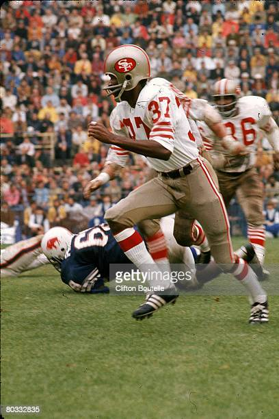 Defensive back Jimmy Johnson of the San Francisco 49ers runs in pursuit in an NFL game against the Buffalo Bills at War Memorial Stadium on September...
