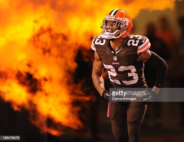Defensive back Joe Haden of the Cleveland Browns is introduced before a game against the Buffalo BIlls at FirstEnergy Stadium in Cleveland Ohio The...