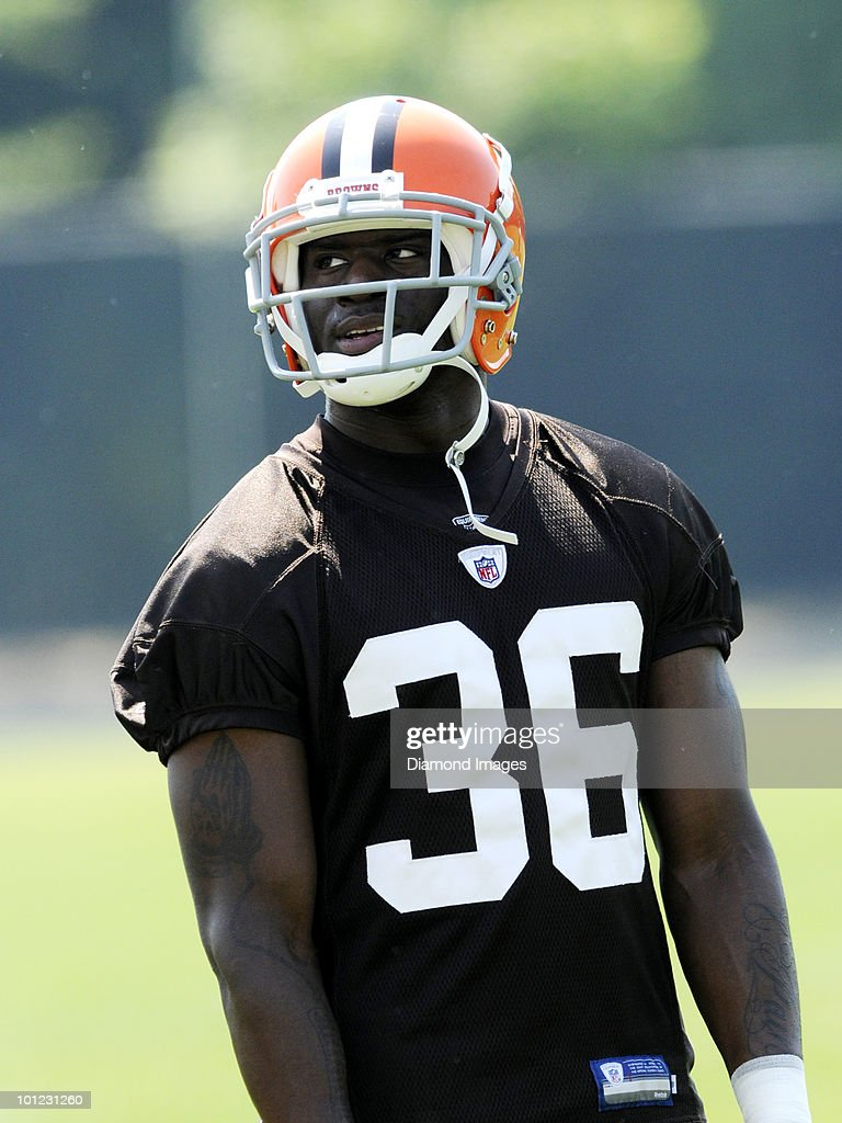 Defensive back John Bowie #36 of the Cleveland Browns watches a play during the team's organized team activity (OTA) on May 27, 2010 at the Cleveland Browns practice facility in Berea, Ohio.