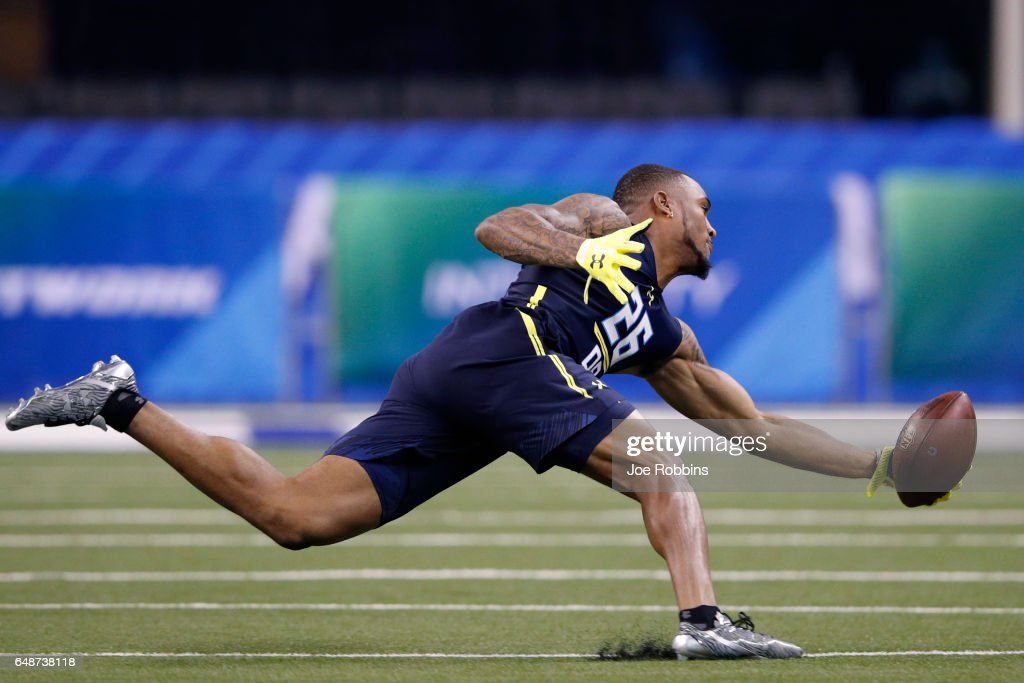 Defensive back John Johnson of Boston College participates in a drill during day six of the NFL Combine at Lucas Oil Stadium on March 6, 2017 in Indianapolis, Indiana.