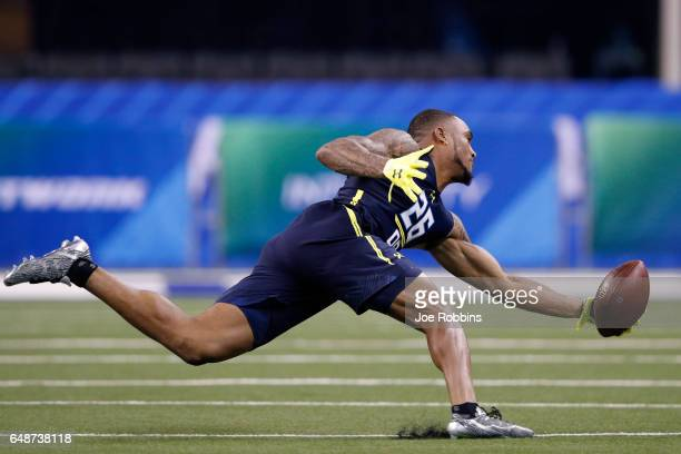 Defensive back John Johnson of Boston College participates in a drill during day six of the NFL Combine at Lucas Oil Stadium on March 6, 2017 in...