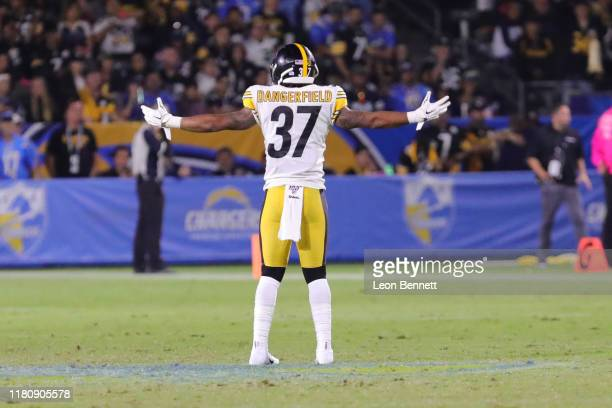 Defensive back Jordan Dangerfield of the Pittsburgh Steelers getting the fans hyped up while taking on the Los Angeles Chargers at Dignity Health...