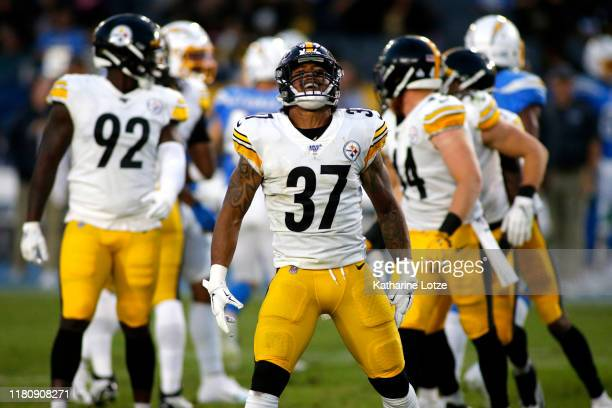 Defensive back Jordan Dangerfield of the Pittsburgh Steelers reacts during a game against the Los Angeles Chargers at Dignity Health Sports Park on...