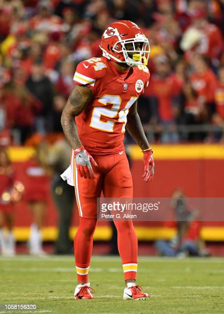 Defensive back Jordan Lucas of the Kansas City Chiefs gets set on defense against the Cincinnati Bengals during the first half on October 21 2018 at...