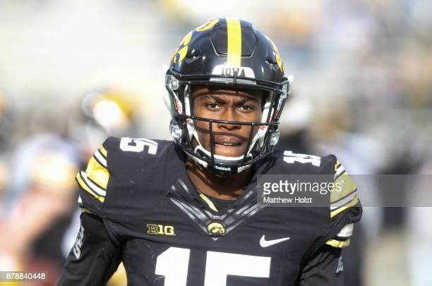 Defensive back Josh Jackson of the Iowa Hawkeyes before the matchup against the Purdue Boilermakers on November 18 2017 at Kinnick Stadium in Iowa...