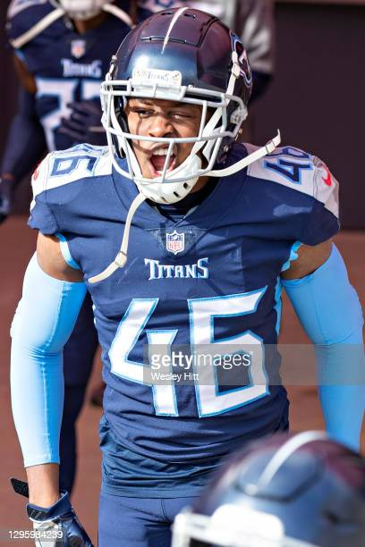 Defensive back Joshua Kalu of the Tennessee Titans prepares to run onto the field before their AFC Wild Card Playoff game against the Baltimore...