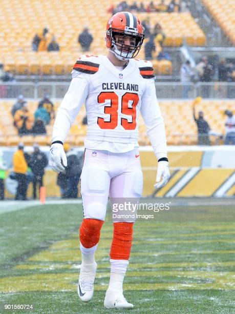 Defensive back Justin Currie of the Cleveland Browns stands on the field prior to a game on December 31 2017 against the Pittsburgh Steelers at Heinz...