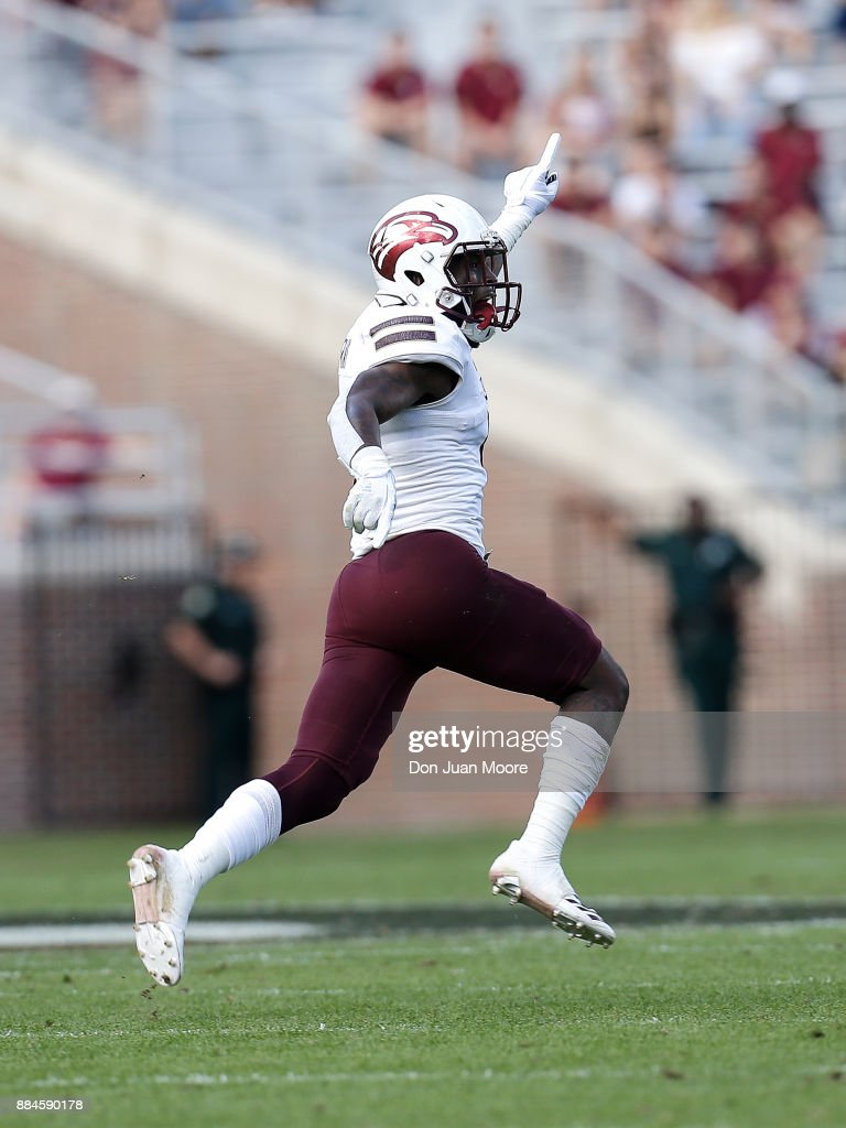 Defensive Back Juwan Offray #1 of the Louisiana Monroe Warhawks celebrates after making an interception during the game against the Florida State Seminoles at Doak Campbell Stadium on Bobby Bowden Field on December 2, 2017 in Tallahassee, Florida. Florida State defeated Louisiana Monroe 42 to 10.