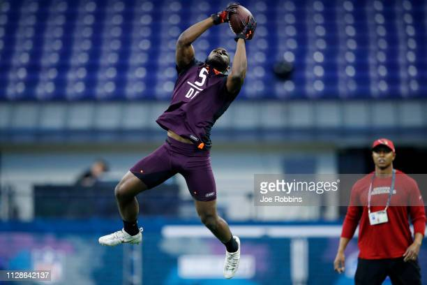 Defensive back Kris Boyd of Texas works out during day five of the NFL Combine at Lucas Oil Stadium on March 4 2019 in Indianapolis Indiana