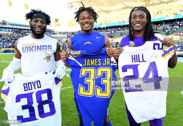 Defensive back Kris Boyd of the Minnesota Vikings,free safety Derwin James of the Los Angeles Chargers and defensive back Holton Hill of the...