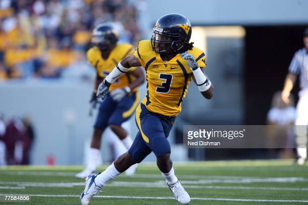 Defensive back Larry Williams of the West Virginia University Mountaineers defends against the Mississippi State Bulldogs on October 20 2007 at Milan...