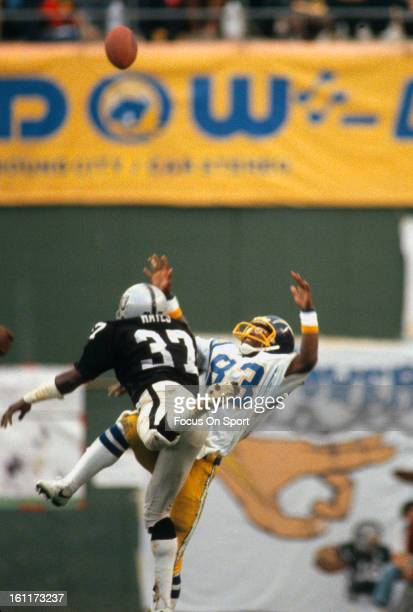 Defensive back Lester Hayes of the Oakland Raiders in action guarding wide receiver John Jefferson of the San Diego Chargers September 9 1979 during...