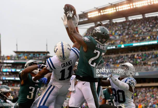 Defensive back Malcolm Jenkins of the Philadelphia Eagles breaks up a pass intended for wide receiver Ryan Grant of the Indianapolis Colts during the...