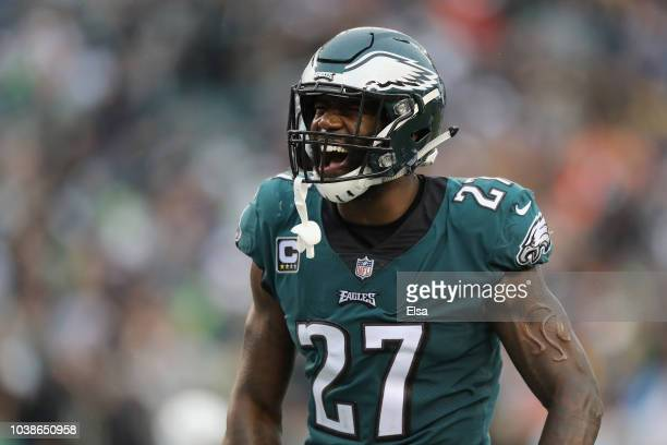 Defensive back Malcolm Jenkins of the Philadelphia Eagles celebrates against the Indianapolis Colts during the fourth quarter at Lincoln Financial...