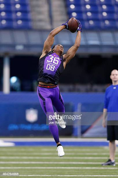 Defensive back Marcus Peters of Washington competes during the 2015 NFL Scouting Combine at Lucas Oil Stadium on February 23 2015 in Indianapolis...