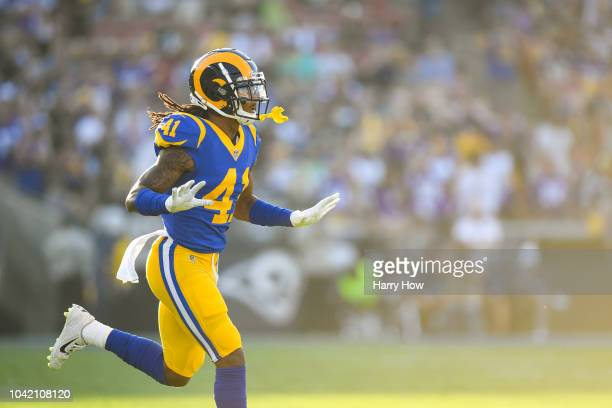 Defensive back Marqui Christian of the Los Angeles Rams runs during the first quarter at Los Angeles Memorial Coliseum on September 27, 2018 in Los...