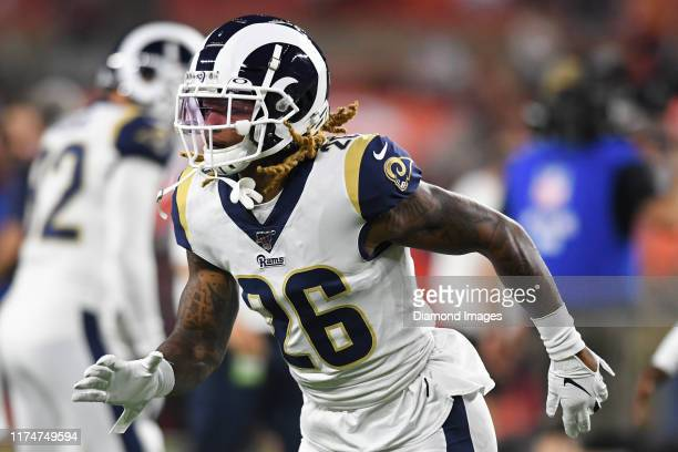 Defensive back Marqui Christian of the Los Angeles Rams warms up prior to a game against the Cleveland Browns on September 22, 2019 at FirstEnergy...