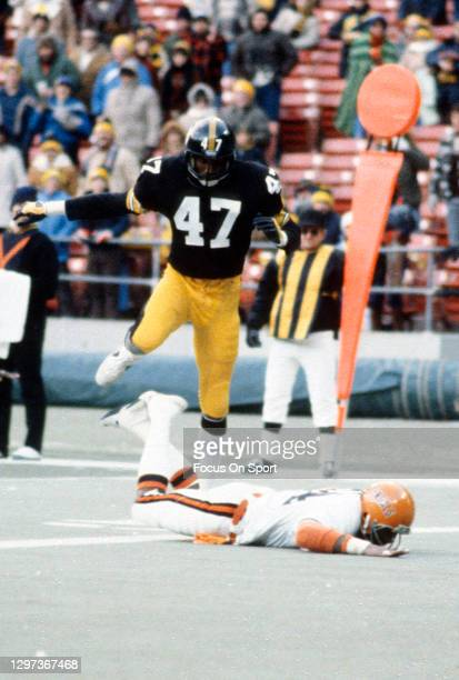 Defensive Back Mel Blount of the Pittsburgh Steelers in action against the Cincinnati Bengals during an NFL football game December 2, 1979 at Three...