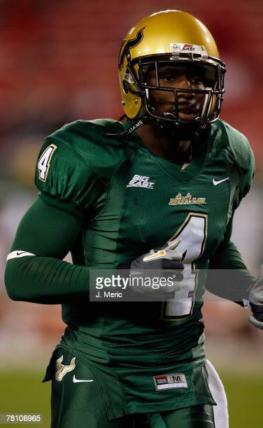 Defensive back Mike Jenkins of the South Florida Bulls warms up prior to the game against the Louisville Cardinals on November 17 2007 at Raymond...