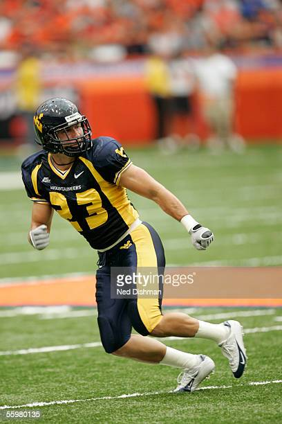 Defensive back Mike Lorello of the West Virginia University Mountaineers against the Syracuse University Orange on September 4, 2005 at the Carrier...