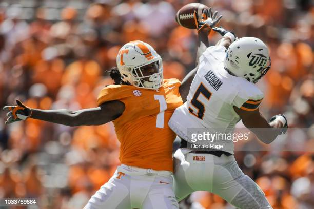 Defensive back Nik Needham of the UTEP Miners defends a pass to wide receiver Marquez Callaway of the Tennessee Volunteers during the second half of...