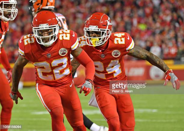 Defensive back Orlando Scandrick and defensive back Jordan Lucas of the Kansas City Chiefs react after a play against the Cincinnati Bengals during...
