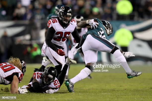 Defensive back Randall Goforth of the Philadelphia Eagles runs the ball against strong safety Kemal Ishmael of the Atlanta Falcons during the third...