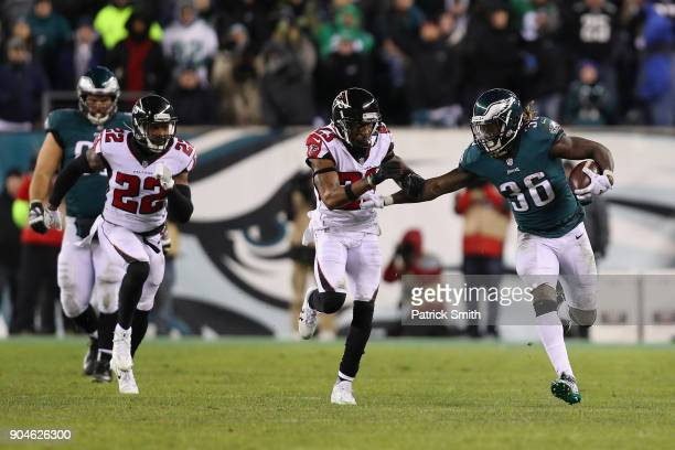 Defensive back Randall Goforth of the Philadelphia Eagles runs the ball against cornerback Robert Alford of the Atlanta Falcons during the fourth...