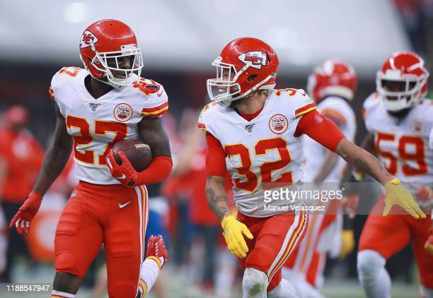 Defensive back Rashad Fenton of the Kansas City Chiefs and teammate Tyrann Mathieu of the Kansas City Chiefs celebrates Fenton's interception in the...