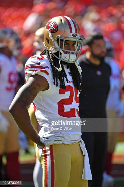 Defensive back Richard Sherman of the San Francisco 49ers looks on prior to a game against the Kansas City Chiefs on September 23 2018 at Arrowhead...