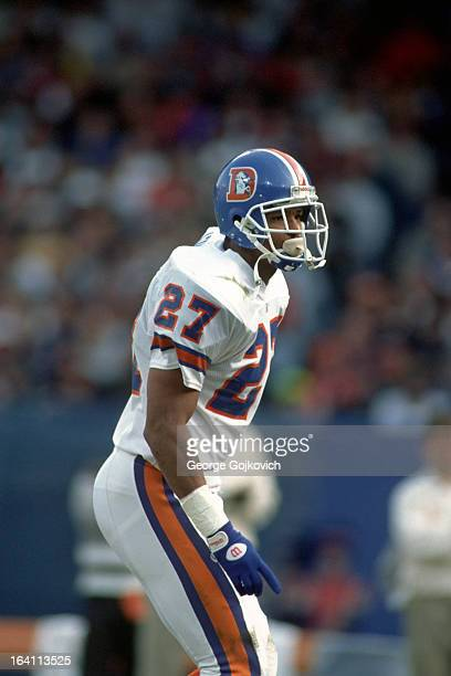 Defensive back Steve Atwater of the Denver Broncos looks on from the field during a game against the Cleveland Browns at Municipal Stadium on...