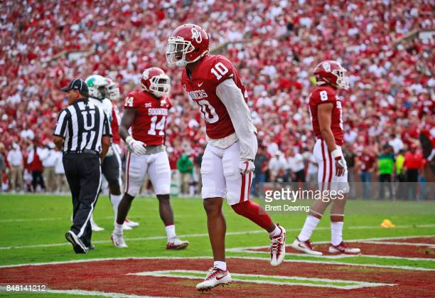 Defensive back Steven Parker of the Oklahoma Sooners celebrates a defensive play in the end zone against the Tulane Green Wave at Gaylord Family...