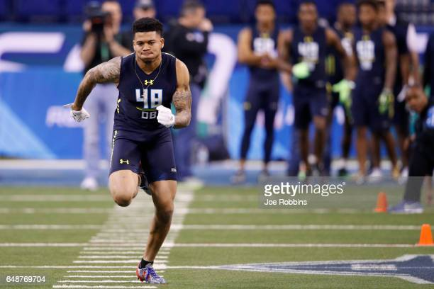 Defensive back Teez Tabor of Florida participates in a drill during day six of the NFL Combine at Lucas Oil Stadium on March 6 2017 in Indianapolis...