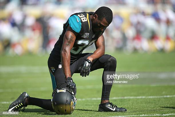 Defensive back Tommie Campbell of the Jacksonville Jaguars is seen during an NFL football game against the New York Giants at EverBank Field on...