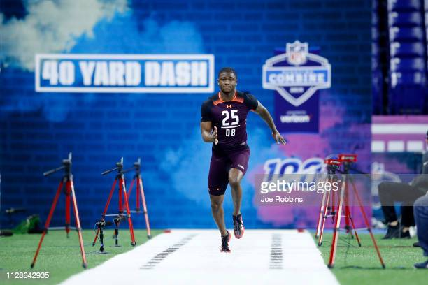 Defensive back Trayvon Mullen of Clemson runs the 40-yard dash during day five of the NFL Combine at Lucas Oil Stadium on March 4, 2019 in...