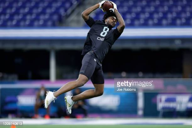Defensive back Trevon Diggs of Alabama runs a drill during the NFL Combine at Lucas Oil Stadium on February 29, 2020 in Indianapolis, Indiana.