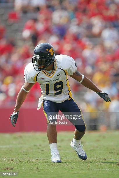 Defensive back Vaughn Rivers of the West Virginia University Mountaineers stands ready for a play during a game against the University of Maryland...