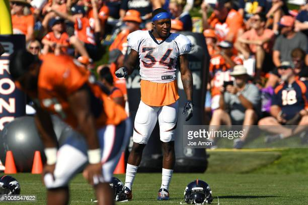 Defensive back Will Parks on the first practice in pads on day 4 of Denver Broncos training camp at the UCHealth Training Center July 31 2018 in...