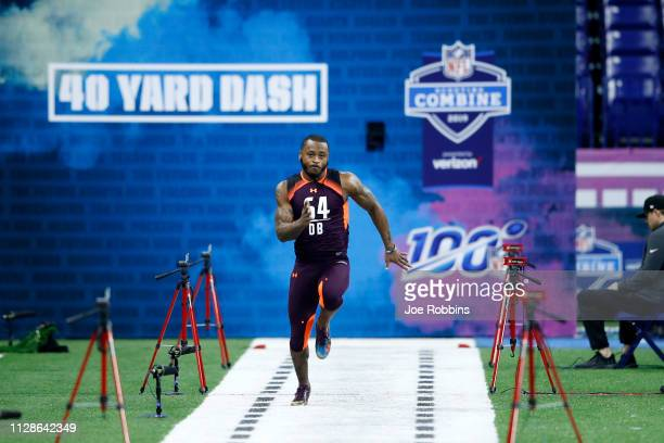 Defensive back Zedrick Woods of Ole Miss runs the 40yard dash during day five of the NFL Combine at Lucas Oil Stadium on March 4 2019 in Indianapolis...