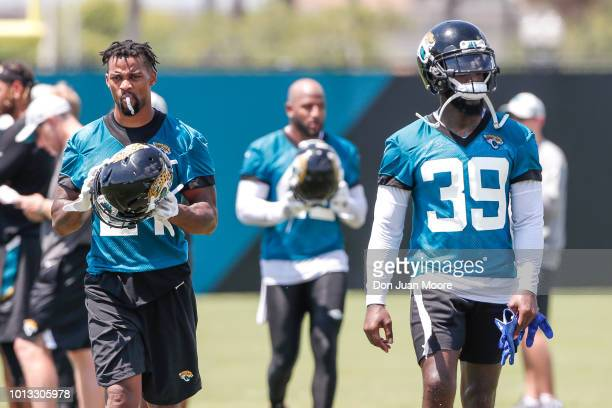 Defensive Backs AJ Bouye Barry Church and Tashaun Gipson Sr #39 of the Jacksonville Jaguars during Training Camp at Dream Finders Homes Practice...
