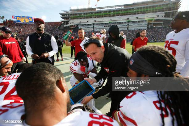 Defensive Backs Coach Jeff Hafley of the San Francisco 49ers talks with the defensive backs on the sideline during the game against the Los Angeles...