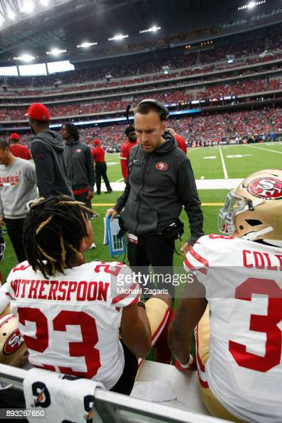 Defensive Backs Coach Jeff Hafley of the San Francisco 49ers talks with Ahkello Witherspoon and Adrian Colbert on the sideline during the game...